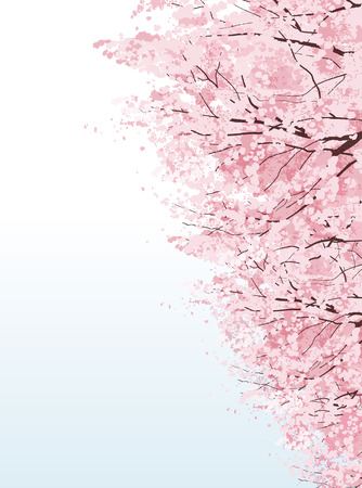 clipping mask: Rows of cherry blossom trees.File contains Clipping mask, Gradients. Illustration