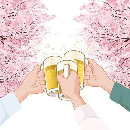 Toasting with beer  in Sakura Cherry blossoms background.  File contains Clipping mask, Gradients.