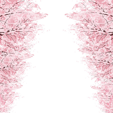 contains: Rows of Beautiful Cherry Blossom trees.File contains Clipping mask, Gradients. Illustration