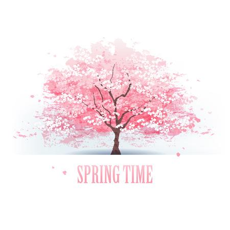 Isolated beautiful cherry blossom tree   Illustration