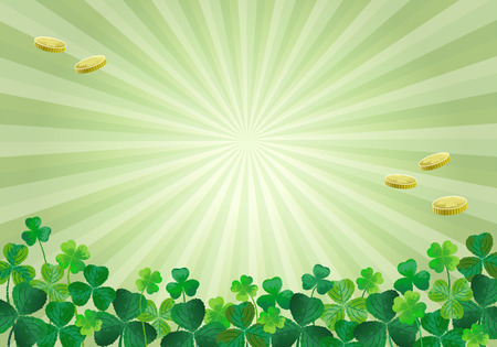 Shamrocks clovers and gold coins Vector