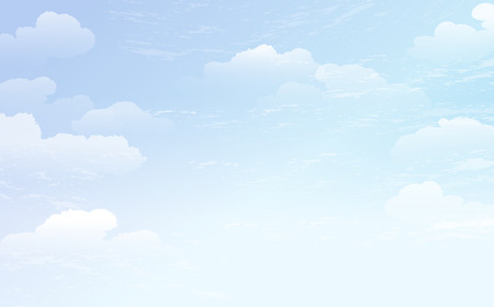 Spreading blue sky and white cloud background.  File contains gradient,Transparent.  Illustration
