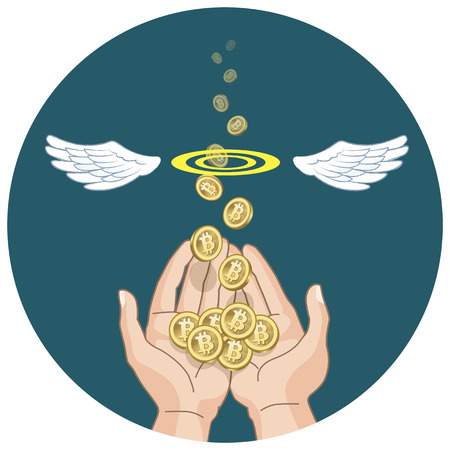 e money: Bitcon concept - coins flying and disappearing into the air from hands  File contains Gradients, Clipping mask, Transparency