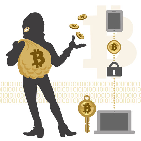 computer hacker: Vector of Bitcoin, hacker and its transaction.File contains Clipping mask, Transparency.