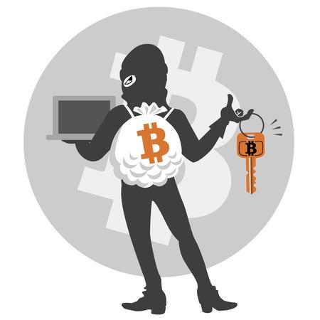 Minaccia di moneta digitale. Criminal riesce hacker furto. File contiene maschera di ritaglio, trasparenza. Archivio Fotografico - 26592605