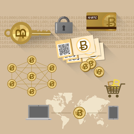peering: Bitcoin concept with Bill, QR cord, cash card, and P2P system Illustration