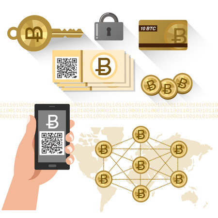 peering: Bitcoin concept - P2P system, secure key, Scanned QR code with smartphone