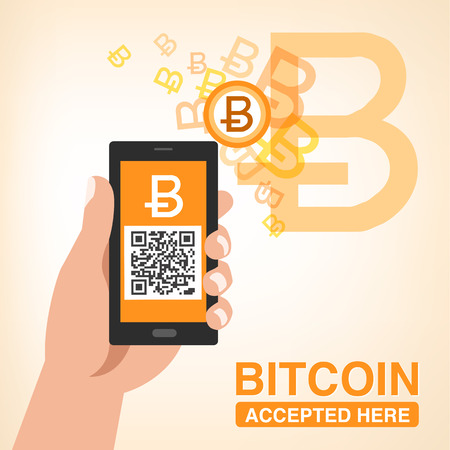 Bitcoin accepted - Smartphone with QR code in hand Ilustracja
