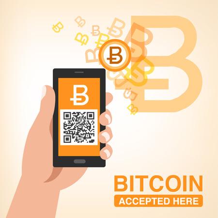 smartphone mano: Bitcoin accettato - Smartphone con codice QR in mano