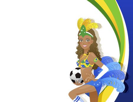 Attractive Brazilian dancer holding soccer ball Vector