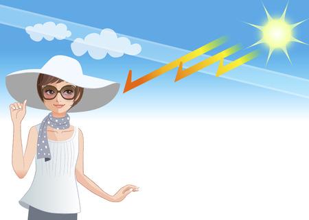 오존 층을 점점 태양 광선으로부터 보호로 넓은 챙 모자를 착용하는 젊은 여자 일러스트