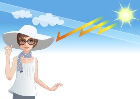 Young woman wearing wide brimmed hat as a protection from sun rays getting through ozone layer Vector