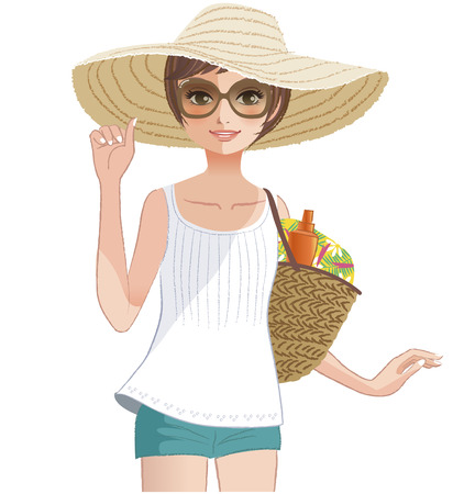 sun protection: Pretty girl posing in a wide brimmed straw hat