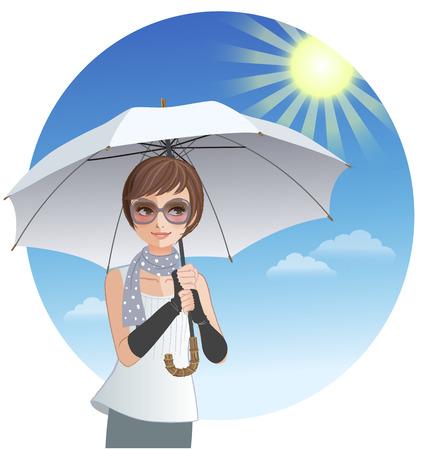 Leuke vrouw die zonnescherm paraplu onder sterk zonlicht Stock Illustratie