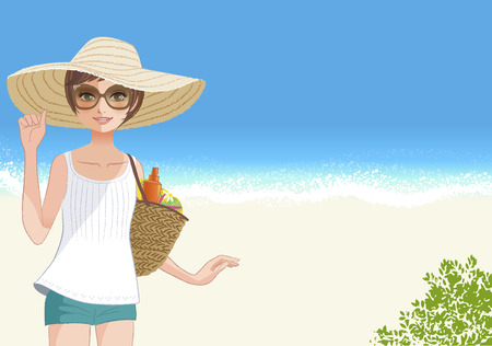 brimmed: Cute young woman smiling in wide brimmed hat  at beautiful beach File contains clipping mask, Gradients, Transparency  Illustration