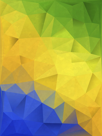 Abstract Geometric background in Brazil flag concept  File contains Gradients, clipping mask   イラスト・ベクター素材
