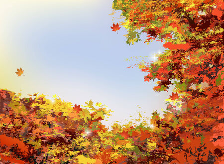 Autumn scenery background with yellow, orange, red leaves and trees. Vector