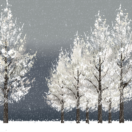 Winter night background with snowy trees. File contains clipping masks, Gradient Mesh. Vector