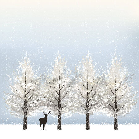 Holiday background in winter with snowy trees and reindeer.  File contains Gradient mesh. Vector