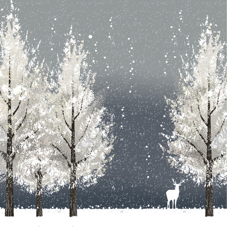 woodland scenery: Winter background at night with white trees and reindeer. File contains clipping mask, Gradient mesh.