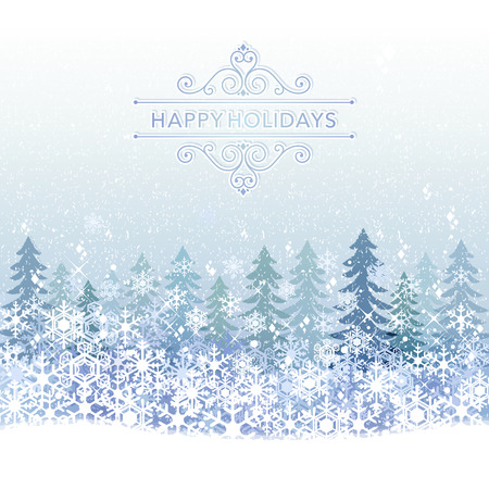 clipping mask: Winter Holiday background with ble snow scenery.File contains clipping mask,Gradient, Transparency, Gradient mesh.