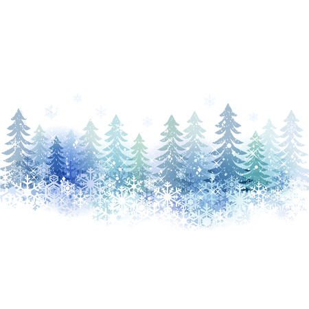 Snow scenery background with copy space.File contains clipping mask,Gradient, Transparency, Gradient mesh, Blending tool. Vector