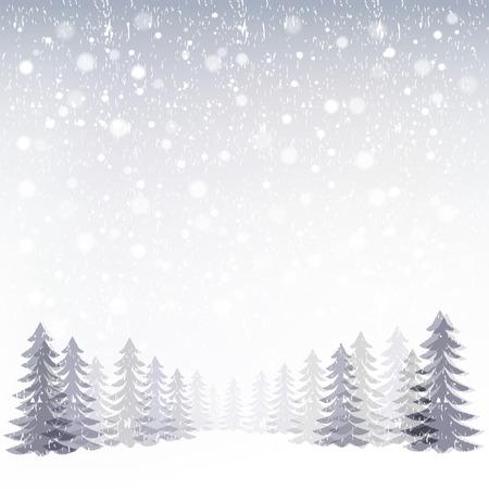 Achtergrond van de winter sneeuwt in het bos. Bestand bevat Gradient, Transparantie, Gradient mesh