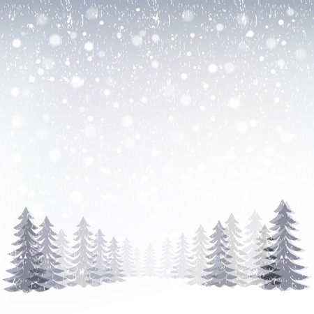 Winter background snowing in forest. File contains Gradient, Transparency, Gradient mesh