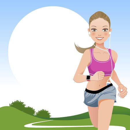 pony: Jogging woman outdoor with countryside background.