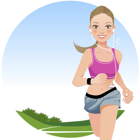 belly button: Jogging woman outdoor with countryside background.