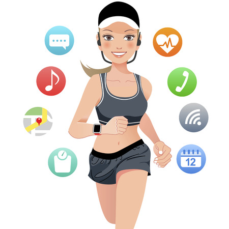 Healthy young jogging woman wears smart device with touchscreen Vector