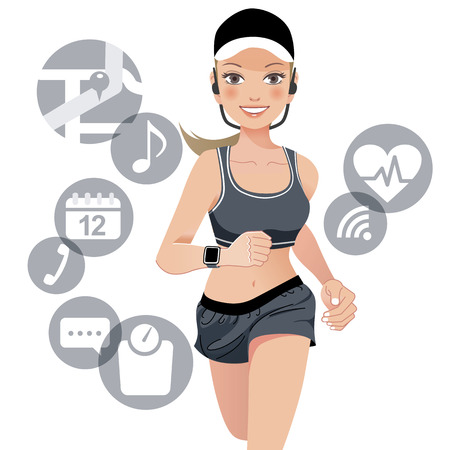 belly button: Healthy young jogging woman wears smart device with touchscreen.File contains Gradient, Gradient mesh, Clipping mask, Transparency.