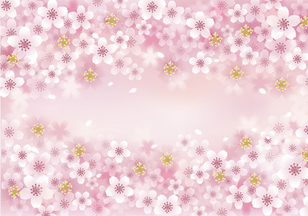 spring season: Sakura Cherry Blossom background. File contains Transparency, Blending tool, Gradients, Gradient Mesh.