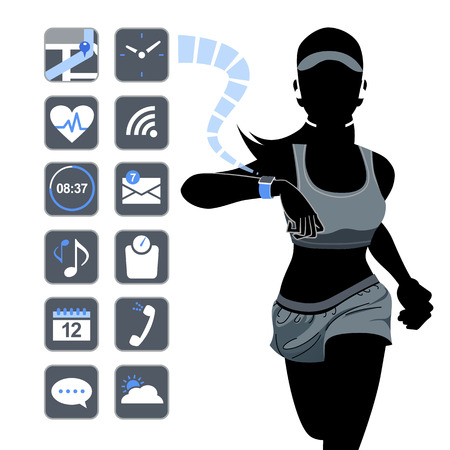 smart woman: Smart watch concept with healthy fitness woman in silhouette.