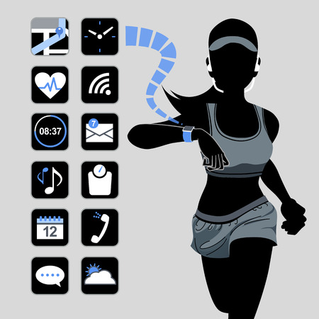 hands free device: Smart watch concept with healthy fitness woman in silhouette.