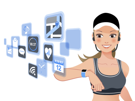touchscreen: Healthy woman looking at smart watch touchscreen and app icons.