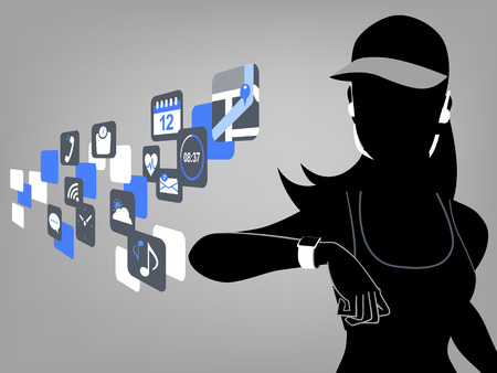 touchscreen: Fitness woman looking at smart watch touchscreen and app icons. Illustration