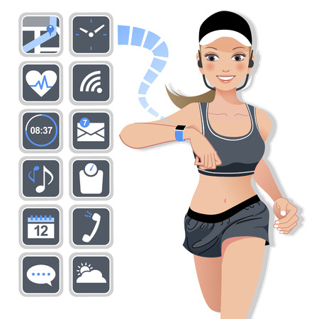 Smart watch concept with jogging woman and flat designed icons. Illustration