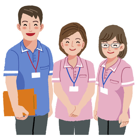 care giver: smiling trustable care givers with white background. Illustration