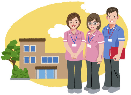 giver: Three caregivers standing with nursing house background.