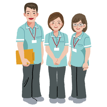 caregivers: Three professional caregivers are smiling.
