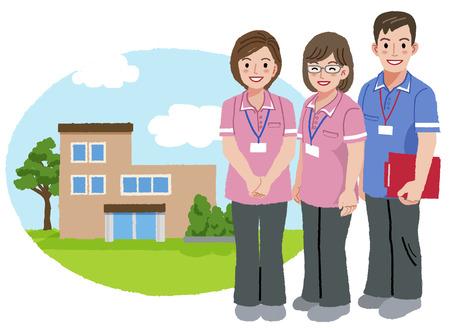 trustable: Tres cuidadores de pie con la casa de enfermer�a fondo. Vectores