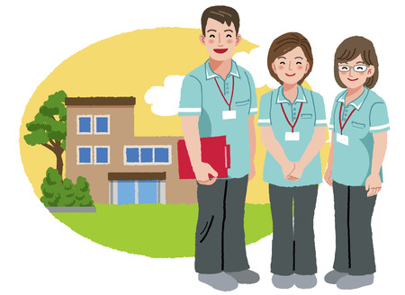 Three caregivers standing with retirement home background.