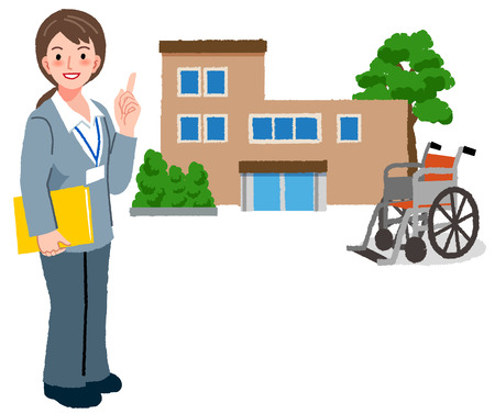 caregivers: Full length portraits of geriatric care manager with retirement home and wheel chair in the background. Illustration