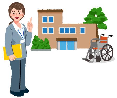 Portraits en pied de gestionnaire de soins gériatriques avec maison de retraite et fauteuil roulant en arrière-plan.