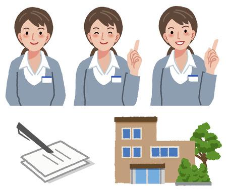 nursing uniforms: Retratos de administrador de atenci�n geri�trica en diferentes gestos con la casa de retiro y el documento impreso de solicitud.