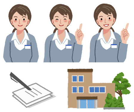 Portraits of geriatric care manager in different gesture with retirement house and application form document.