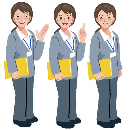 Portraits of geriatric care manager full length in different gesture. Illustration