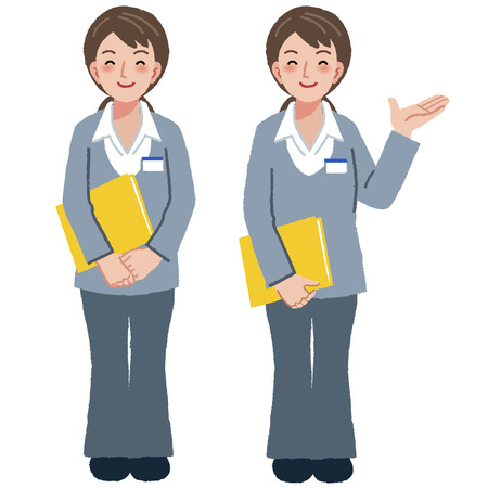 caregivers: Portraits of geriatric care manager full length in different gesture. Illustration