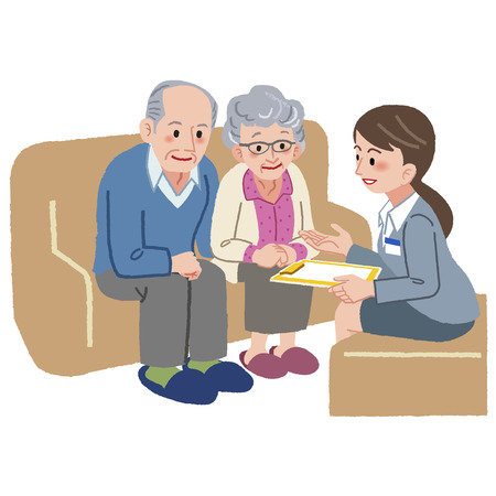 happy people white background: Elderly couple consults with Geriatric care manager.